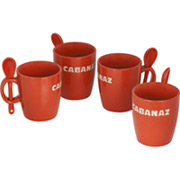 Cabanaz Tasse mit L�ffel Rot (4er Set)